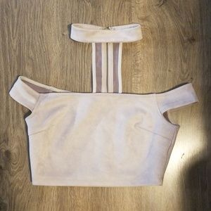 LF suede over the shoulder choker top